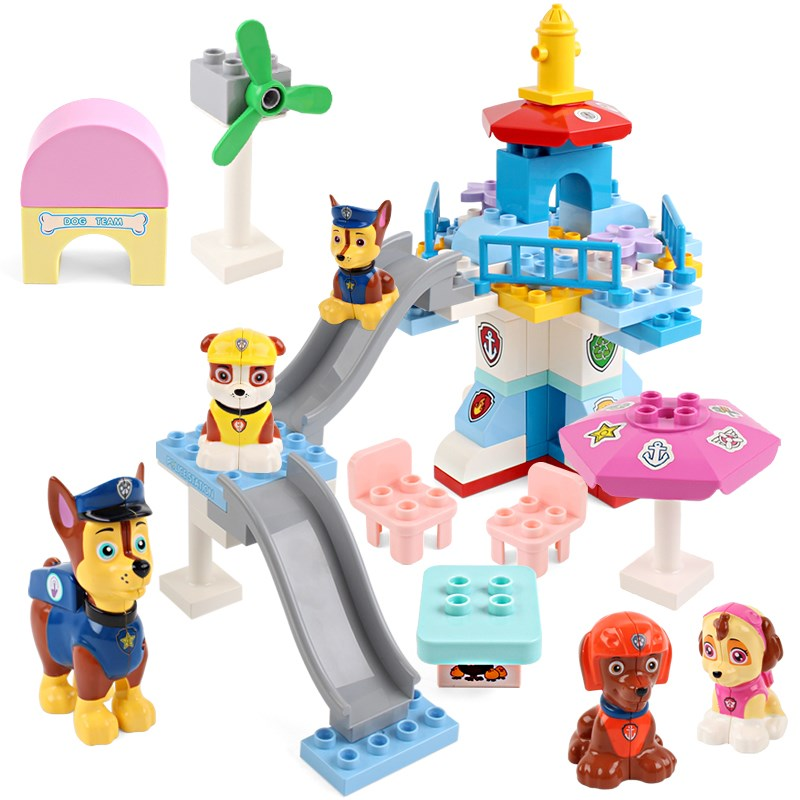 Original Paw Patrol dog Puppy Patrulla Canina Lookout Tower dog building blocks Compatible with LEGOINGLYS toys for children