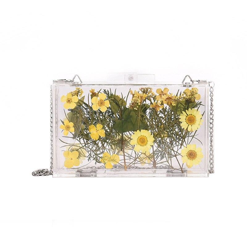 New Style Acrylic Box Bag Little Daisy Chain Shoulder Transparent Cute Shoulder Fashion  Bags For Women 2020