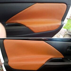 Image 1 - 4pcs/set Car Interior Microfiber Leather Door Panel Armrest Cover Trim For Mitsubishi Outlander 2014 2015 2016 2017 2018