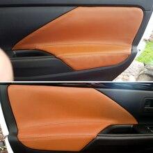 Apoyabrazos para puerta de coche Mitsubishi Outlander, cubierta embellecedora para Interior de microfibra de cuero, para Mitsubishi Outlander 2014 2015 2016 2017 2018, 4 unidades