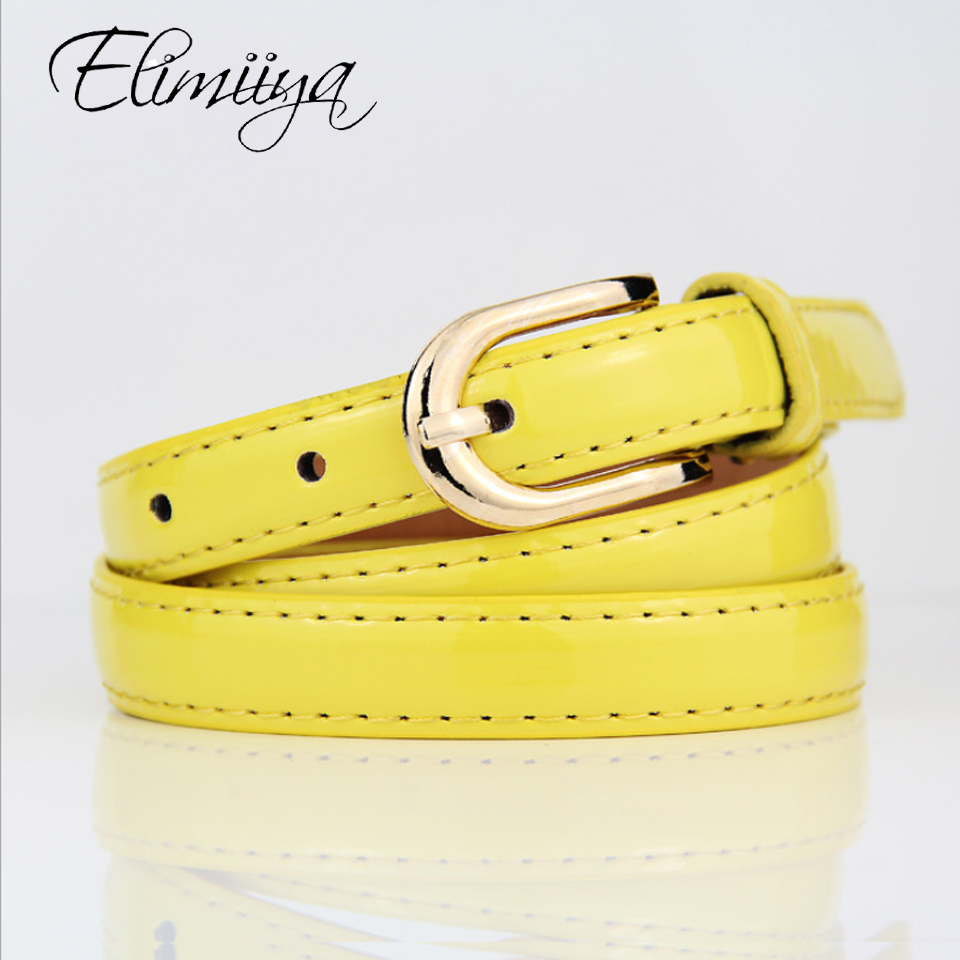 Elimiiya Brand New Wild Ladies Thin Belt Women's Lacquered Leather Belts Casual Fashion Gold Pin Buckle Waistbelt