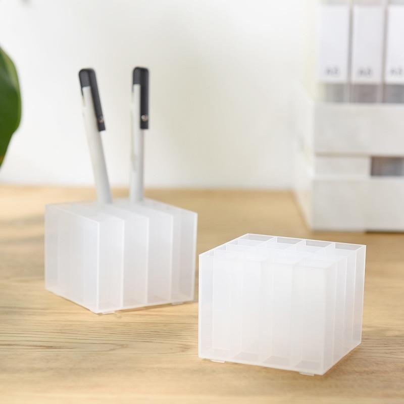 JIANWU Creative Transparent Plastic Pen Container Desktop Classification Storage Box Japanese Creative Stationery