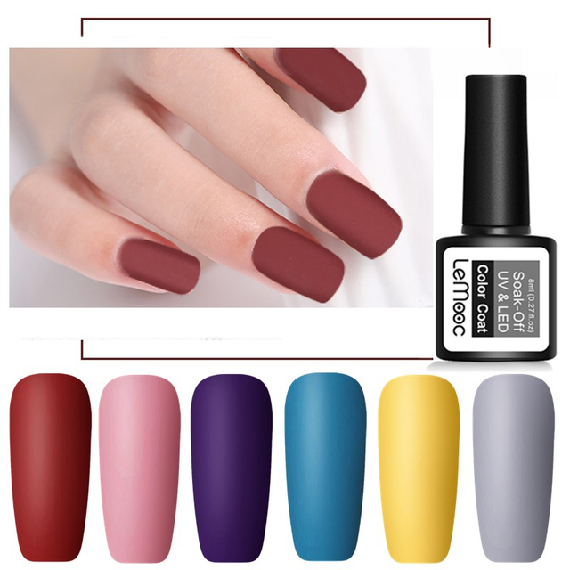 LEMOOC 8ml Matte Top Coat Color UV Gel Nail Polish Gray Series Semi Permanent Soak Off UV Gel Varnish DIY Nail Art Gel Paint 4