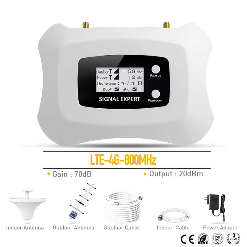 800Mhz Band 20 Cell Phone Repeater 4G LTE Signal Booster