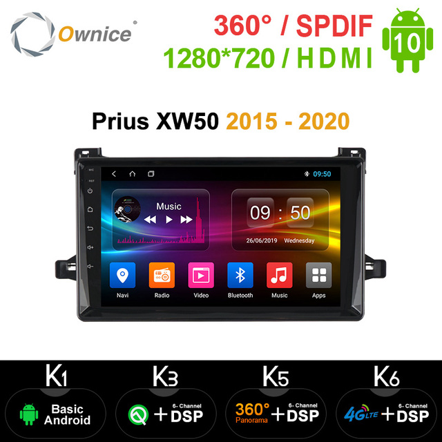 Ownice autoradio k3, k5, k6, android 10.0, navigation GPS, Panorama 360, optique, DSP, lecteur pour voiture Toyota Prius XW50 (2015), 2020, 4G LTE