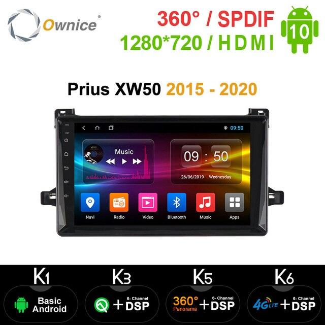 Ownice k3 k5 k6 Android10.0 רכב נגן רדיו GPS 360 פנורמה אוטומטי סטריאו עבור טויוטה פריוס XW50 2015   2020 4G LTE DSP אופטי