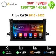 Ownice k3 k5 k6 Android10.0 車プレーヤーラジオgps 360 パノラマ自動トヨタプリウスXW50 2015   2020 4 4g lte dsp光学