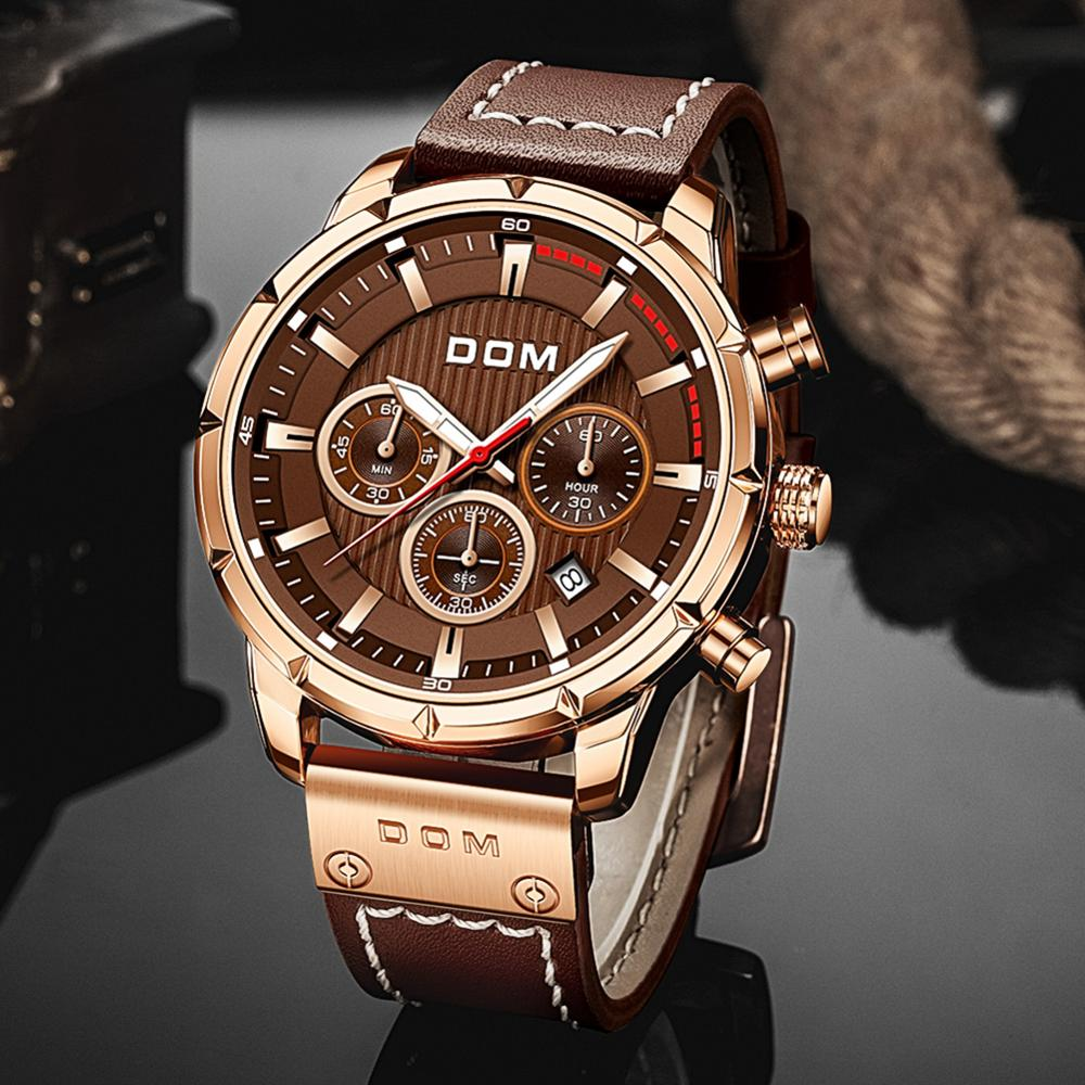 DOM Sapphire Sport Watches for Men Top Brand Luxury Military Leather Wrist Watch Man Clock Chronograph Wristwatch M-1320GL-5M 3