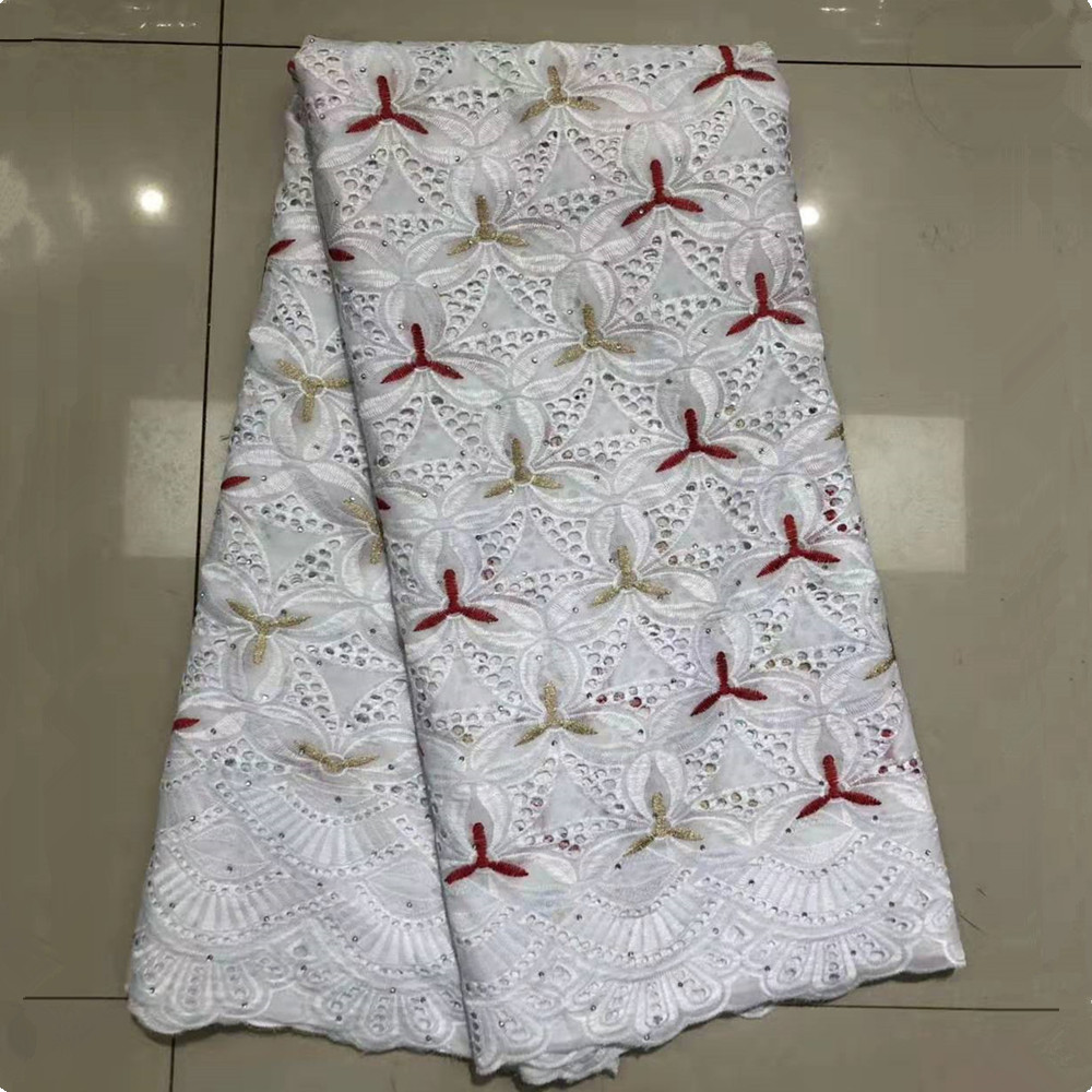 High Quality African Nigerian Beads Lace George Fabric Hollow Out Swiss Wax Lace Fabrics DIY For Wedding Party Dresses