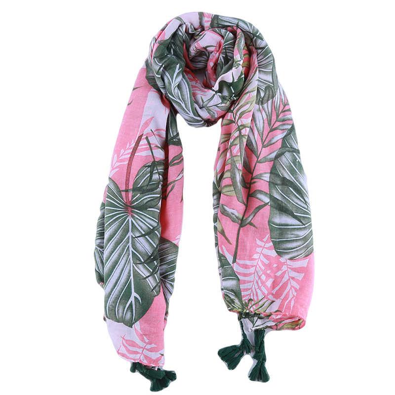 Элегантный женский Мусульманский Хиджаб Женский шарф с принтом листьев хлопок длинные шали обертывание для женщин зеленый розовый осенний теплый палантины шарф