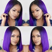 Перуанские короткие парики для черных женщин 13*6 прямой парик фронта шнурка предварительно сорванный 1B фиолетовый Омбре парик шнурка Человеческие волосы Remy