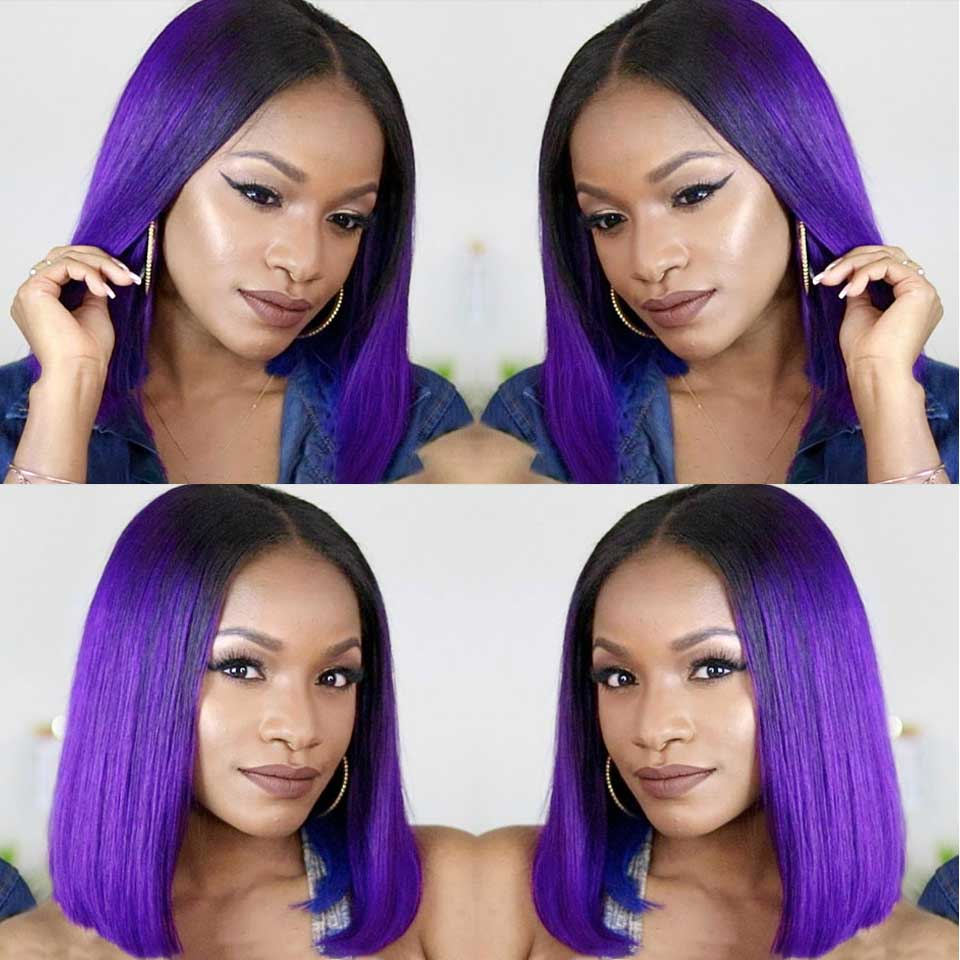 Peruvian Short Bob Wigs For Black Women 13*6 Straight Lace Front Wig Pre Plucked 1B Purple Ombre Lace Wig Human Hair Remy