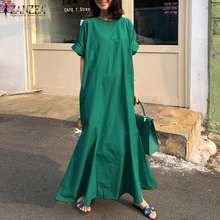 ZANZEA Women's Summer Short Sleeve Sundress Elegant Loose Plain Cotton Linen Long Maxi Dress Casual Ruffles Vestido Plus Size 7