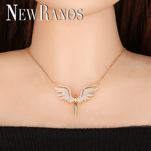 Image 5 - Newranos Angel Wing Charm Necklace Micro Paved Cubic Zirconias Pendant Necklace Champagne Gold Color for Women Jewelry NFX001402