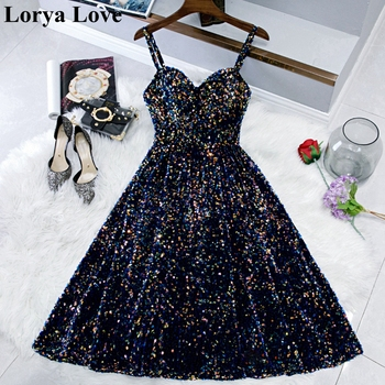 Shiny Sequined Navy Blue Short Cocktail Prom Dresses Vestidos De Gala 2020 Women Robe Party Graduation Gowns Homecoming Dress 2020 light sky blue lace graduation short prom dresses bateau neck satin ruched mini homecoming party cocktail dress for girls