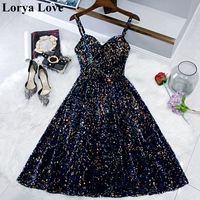 Shiny Sequined Navy Blue Short Cocktail Prom Dresses Vestidos De Gala 2020 Women Robe Party Graduation Gowns Homecoming Dress