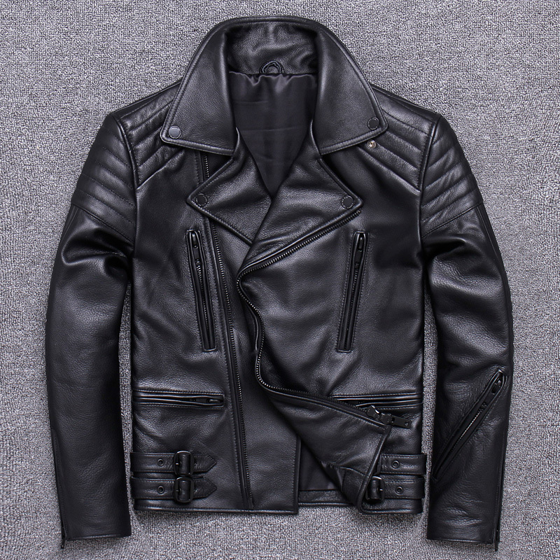 Mens Leather Jacket Autumn Real Genuine Leather Coat For Men Short Motorcycle Cow Leather Jackets Veste Cuir Homme UY02 KJ3208
