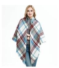 Дизайнерский брендовый женский шарф модные клетчатые зимние
