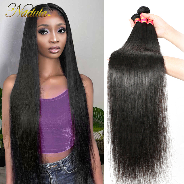 Nadula Hair mechones de cabello liso de 28 pulgadas y 30 pulgadas, 3 mechones/4 mechones, cabello humano liso Remy