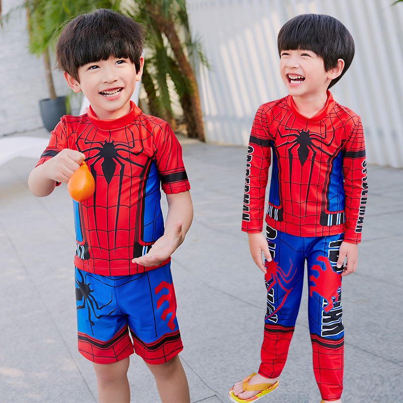 Spider-Man Split Type BOY'S Swimsuit Trousers-Sun-resistant Snorkeling Suit Two Piece Set CHILDREN'S Swimwear Quick-Dry Small CH