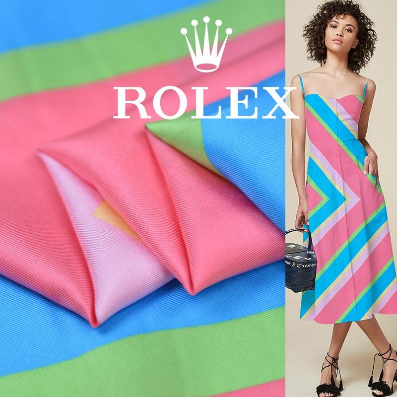 Spring and summer light luxury hand-painted silk twill wide fabric women's dress short skirt clothing designer cloth rainbow