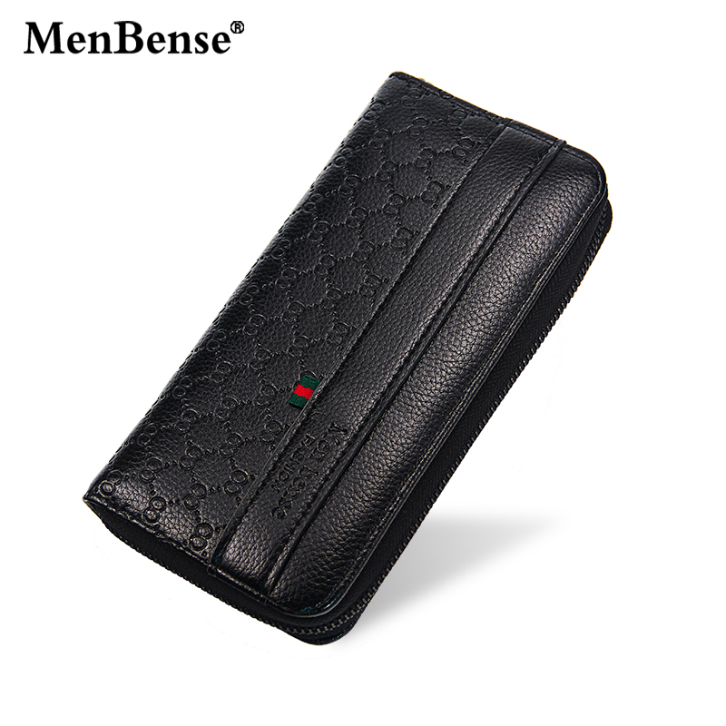 MenBense Leather Zipper Men Clutch Bag Luxury Wallet Carteira Functional Purse Large Capacity Male Card Holder Business Wallets