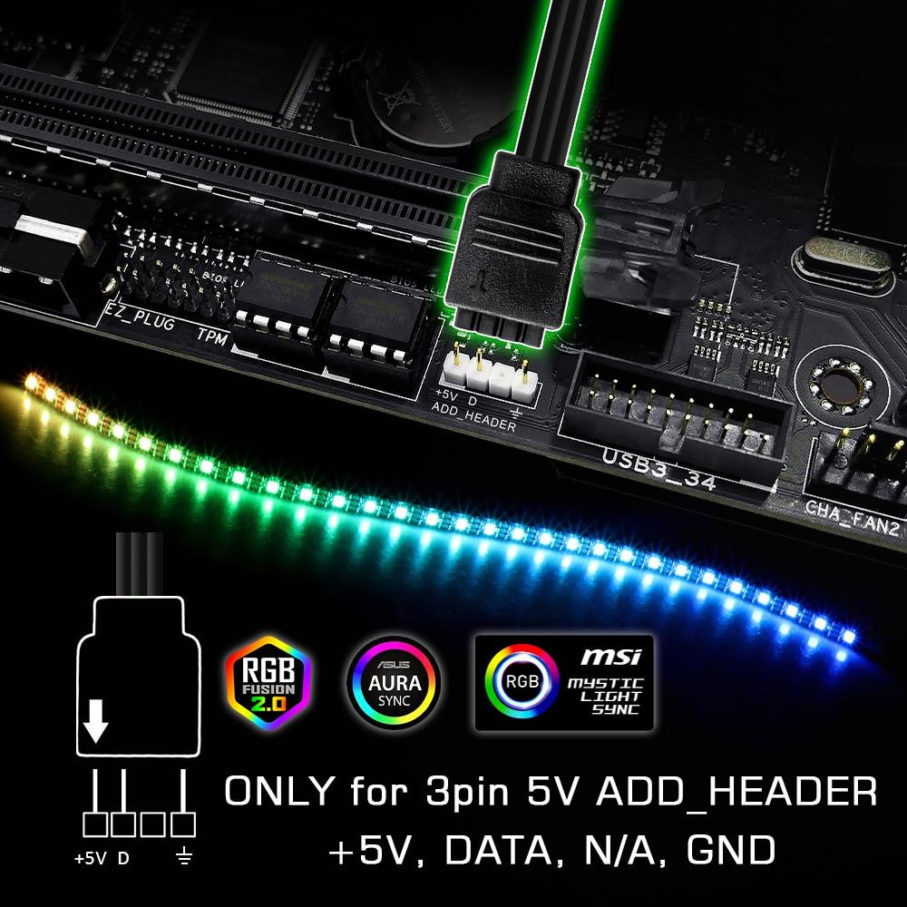 WS2812b RGB LED Strip For ASUS AURA SYNC / MSI Mystic Light Sync / GIGABYTE RGB Fusion 2.0 (5V 3 Pin Addressable LED Headers)