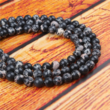 Emperor Black Natural Stone Bead Round Loose Spaced Beads 15 Inch Strand 4/6/8/10/12mm For Jewelry Making DIY Bracelet