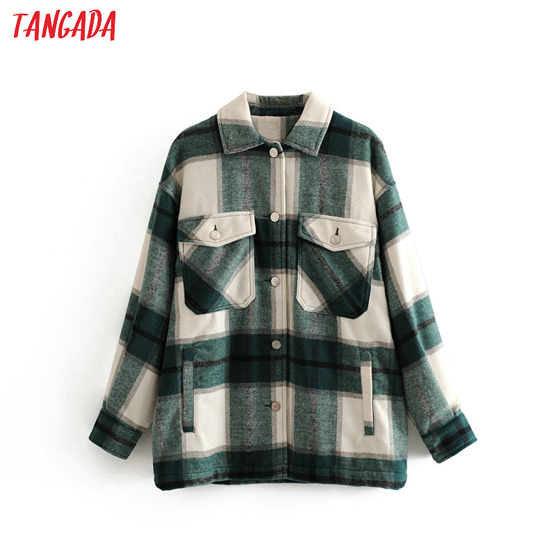 Tangada Long Coat Jacket Plaid Warm Green Winter Casual Fashion Women High-Quality 3H04