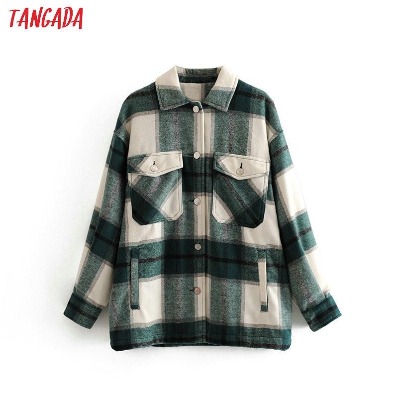 Tangada 2019 Winter Women green plaid Long Coat Jacket Casual High Quality Warm Overcoat Fashion Long Coats 3H04|Wool & Blends| |  - title=