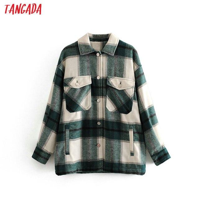 Tangada 2019 Winter Women green plaid Long Coat Jacket Casual High Quality Warm Overcoat Fashion Long Coats 3H04 1