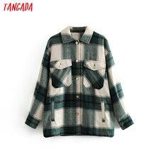 Tangada 2019 зимнее женское зеленое клетчатое длинное пальто, куртка, повседневное высококачественное теплое пальто, модное длинное пальто 3H04