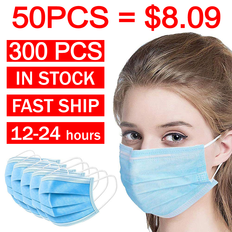 300PCS Stock Dropshipping Face Masks 3 Layers Non-woven Radiation Protection Disposable Elastic Mouth Soft Breathable Face Mask