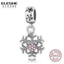ELESHE 925 пробы серебряные шармы из бисера зимние снежинки шармы подходят оригинальные браслеты, подвесные колье для производства аутентичной бижутерии