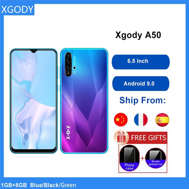 XGODY A50 3G Смартфон Android 9,0 6,5 дюймов 19:9 полный Экран 1 ГБ 8 ГБ MTK6580 4 ядра 5MP Камера 3000 мА/ч, мобильный телефон