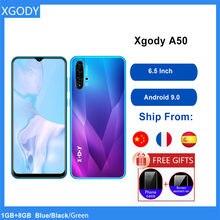 Xgody a50 3g smartphone android 9.0 6.5 polegada 19:9 tela cheia 1gb 4gb mtk6580 quad core 5mp câmera 3000mah telefone móvel