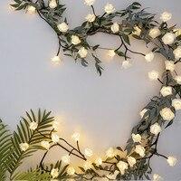 Thrisdar 2.5M 72PCS Rose Flower Led Fairy String Light 220V 110V Rattan Branch Flower String Light Wedding Party Holiday Garland