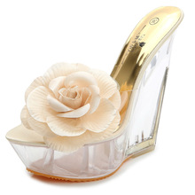LISM Summer New High-heeled Sandals and Slippers  Transparent Crystal Shoes Waterproof Platform Slope with Flower Women Shoes slope with super high heels sexy transparent diamond beaded sequined flowers fish head shoes lace summer sandals and slippers