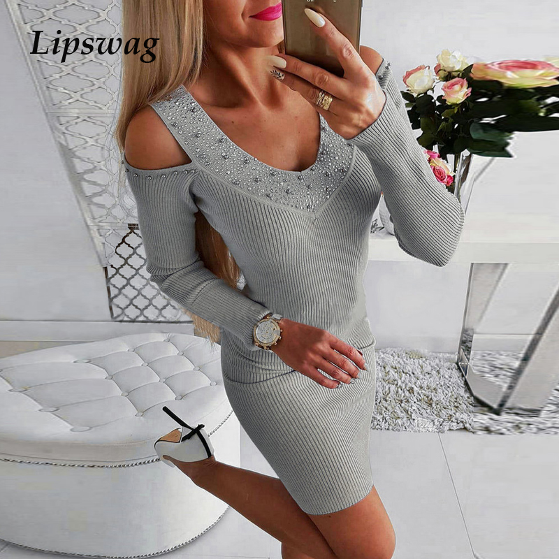 Lipswag Sexy Knitted Hollow Out Party Dress Women 2019 Autumn Long Sleeve Sheath Dress Winter Elegant O-Neck Mini Dress Vestido