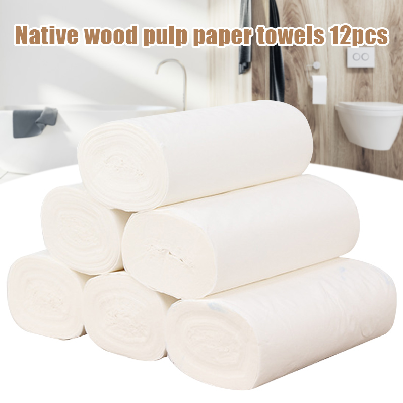 12pcs Coreless Toilet Paper Roll Household 4-layer Thickened Soft Safe Wood Pulp Toilet Roll D88