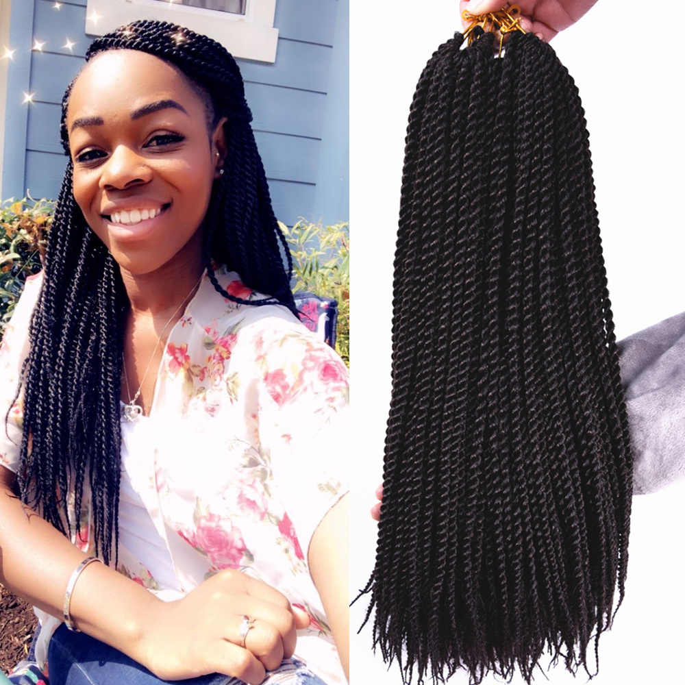 "Full Star Ombre Twist Hair 14"" 18'' 30Roots 75g Synthetic Braids hair crochet braids senegalese twist black T 27 Color Hair"