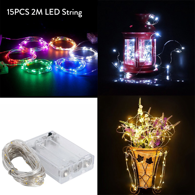 15X LED String Lights 2M Sliver Cooper Wire Garland Home Christmas Wedding Party Decoration Powered 3*AA Battery Fairy Light