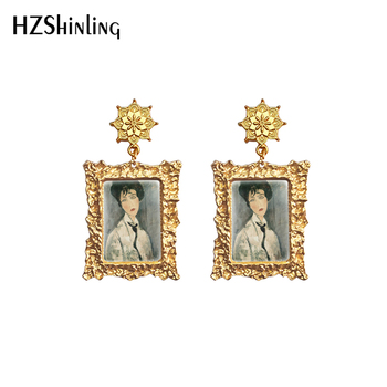 2020 New Portrait of Woman Retro Earring Amedeo Modigliani Paintings Drop Earrings Mandala Charm Glass Dome Jewelry image