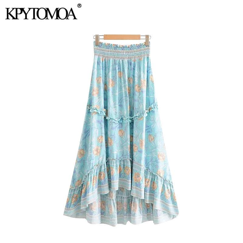 KPYTOMOA Women Bohemian Fashion Floral Print Midi Skirt Vintage Elastic Waist Asymmetrical Summer Beach Skirts Faldas Mujer