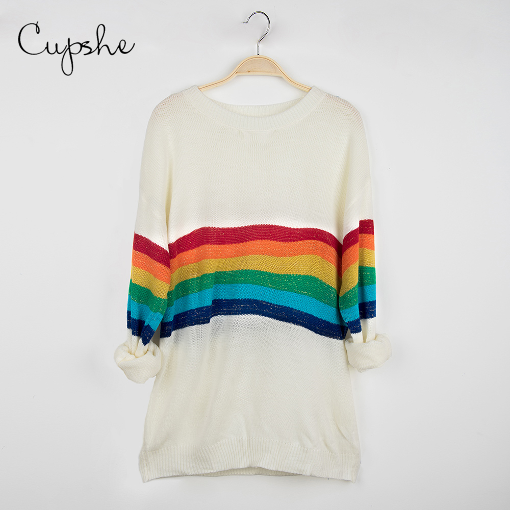 CUPSHE Rainbow Sweaters Women Sexy O-neck Loose Long Sleeve Knitted Top 2019 Autumn Winter Casual Female Jumper Pullovers