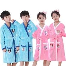Bathrobe kids Fashion Winter Children's Bath Robes cartoon Flannel Bathgrowns for Big Boys Girls Soft Belt night-robe