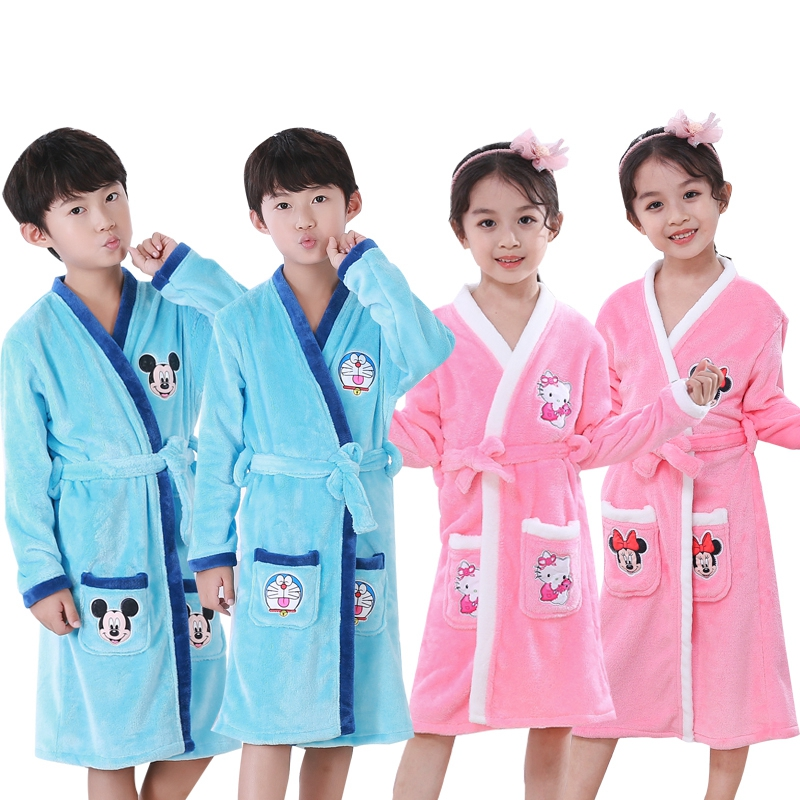 Bathrobe Kids Fashion 2019 Winter Children's Bath Robes Cartoon Flannel Bathgrowns For Big Boys Girls Soft Belt Night-robe