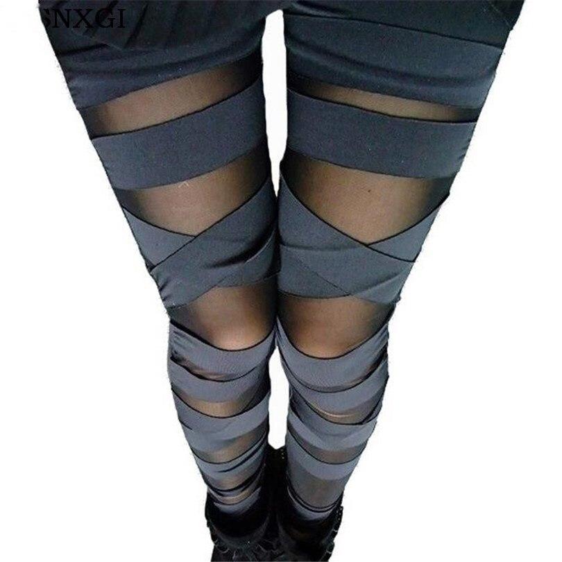 VISNXGI 2020 New Leggings Black Lace Cheap Ripped Cut-out Bandage Woman Lady Legging Trousers Girl Sexy Leggins Pant Patchwork