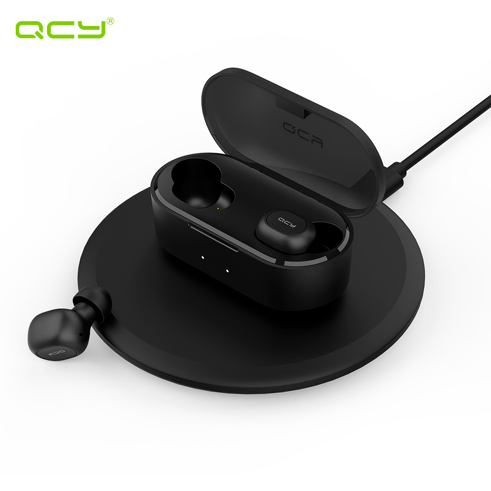 Earphones & Headphones QCY QCYT2SBL wireless headphone bluetooth headset earphone in ear apple airpods bluetooth earphone wireless headphone headphone with microphone bluetooth earphone in ear
