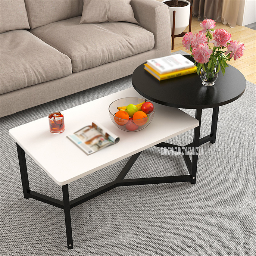 Modern Simple Steel Frame Combination Tea Table 2 In 1 Living Room Side Table Double Color Manmade Board Round Coffee Table